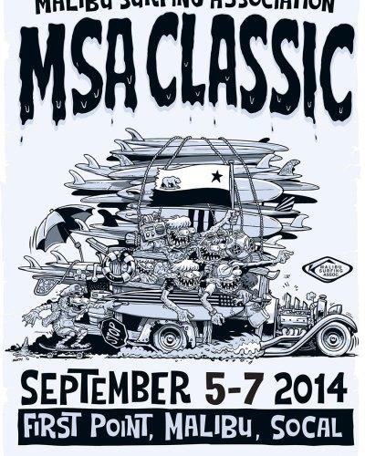 "Malibu Surfing Association ""MSA Classic 2014"" Poster design By Marty Schneider"