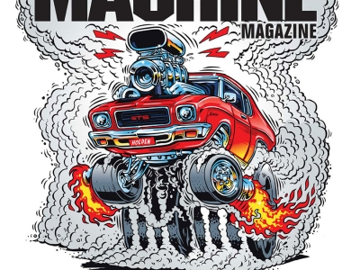 Cartoon drawing of a launching red 1971 HQ Monaro Coupe