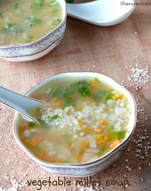 making vegetable soup with littlemillet(samai)/millet soup