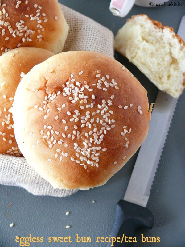 eggless sweet bun recipe