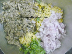 ADD FLOWER,ONIONS AND CORIANDER,MIX