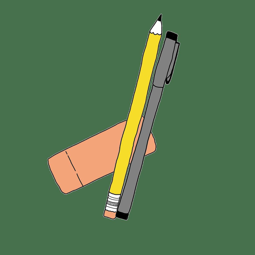 tekening van een potlood, fineliner en gummetje