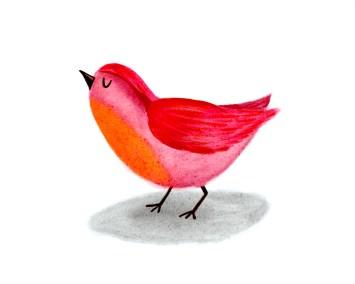 roze rood vogeltje in aquarel stijl