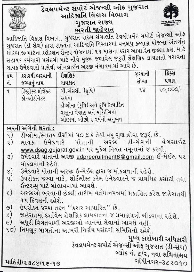 Development Support Agency of Gujarat Recruitmentfor