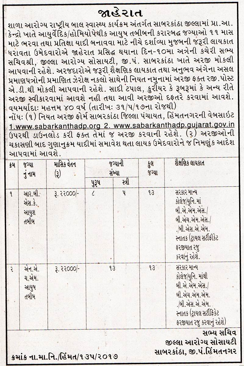 District Health Society Sabarkantha Recruitment for