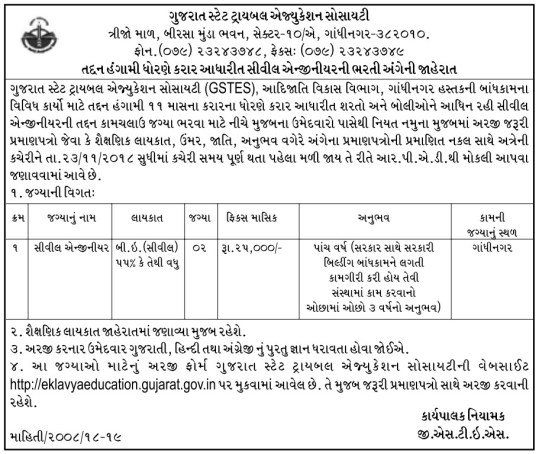 GSTES Latest Job for Civil Engineer Posts 2018