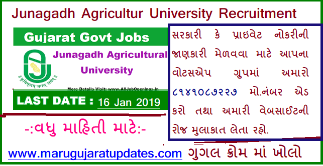Junagadh Agricultur University Recruitment