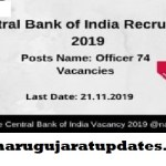 Central Bank of India Recruitment for 74 Specialist Officers (SO) Posts 2019