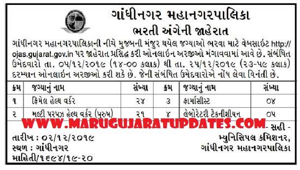 Gandhinagar Municipal Corporation (GMC) FHW, MPHW, Pharmacist and Lab Technician Recruitment