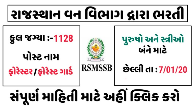 Rajasthan Forest Department By Recruitment & 1128 Forester and Forest Guard Posts & Apply Online
