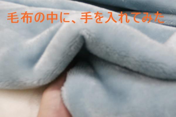 ふんわりとろける毛布中に手を入れる