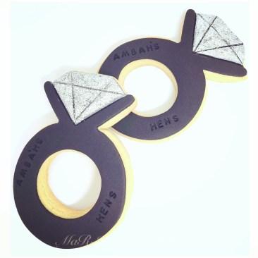 Black & Silver Diamond Ring Cookies