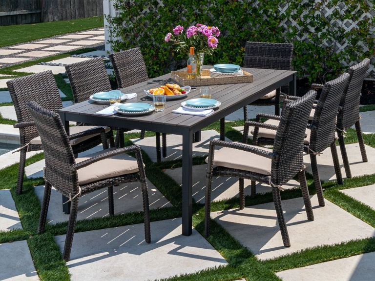 contempo dark grey aluminum and husk outdoor wicker 9 pc dining set with 72 x 41 in dining table