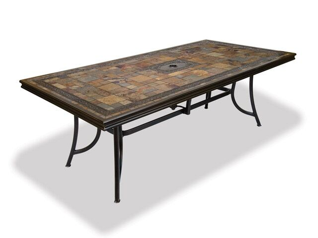 black gold cast aluminum 84 x 42 in natural red slate top dining table