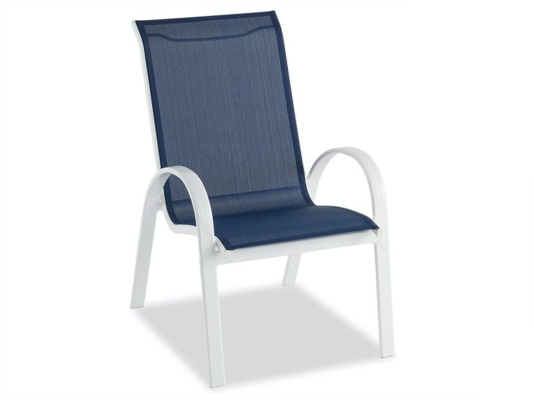 cape coral white aluminum and navy sling dining chair
