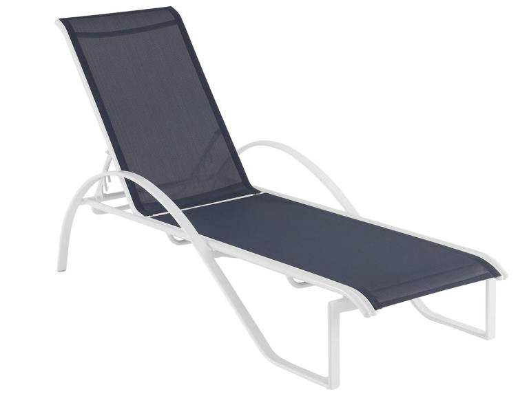 south beach white aluminum and navy sling stacking chaise lounge