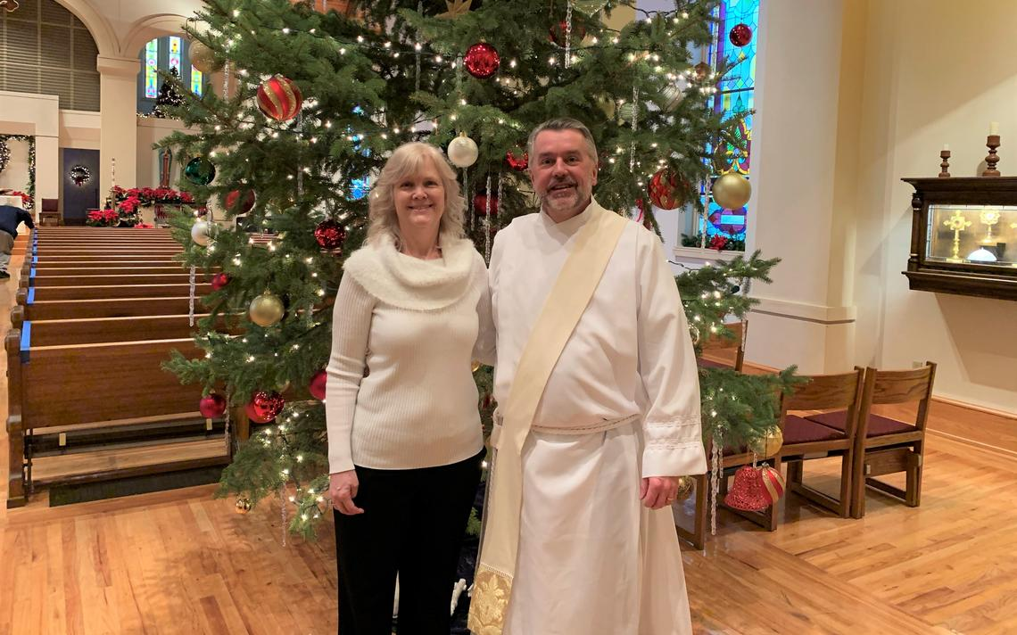 Deacon Ben Seitz and his wife, Jennine, after Mass at St. John's Catholic Church in Wahpeton, N.D., in January 2021. Special to The Forum