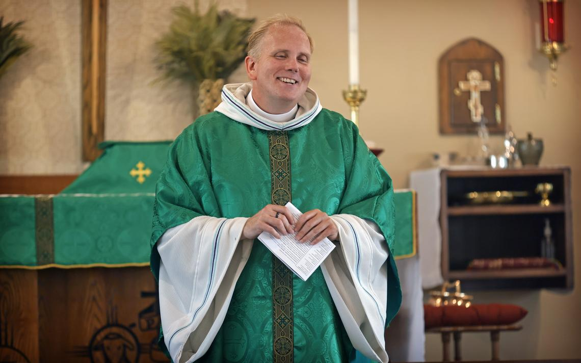 Father Jamie Parsley gives a sermon during mass on Wednesday, June 30, 2021, at St. Stephen's Episcopal Church in north Fargo. David Samson / The Forum