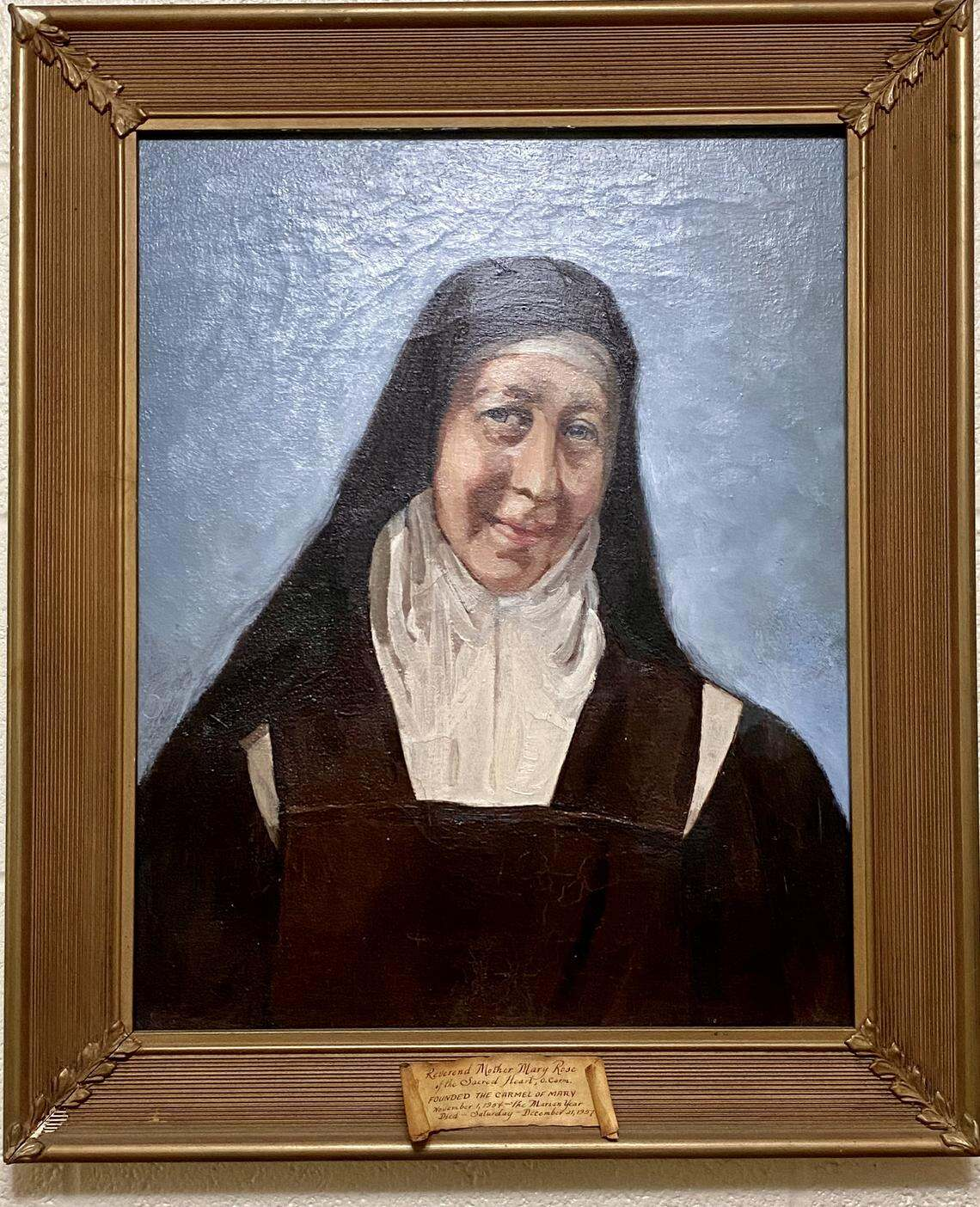 A painting of the Rev. Mother Mary Rose, foundress of the Carmel of Mary Monastery, Nov. 1, 1954, which hangs in one of the visiting rooms inside the cloister in Wahpeton, N.D. Roxane Salonen / The Forum