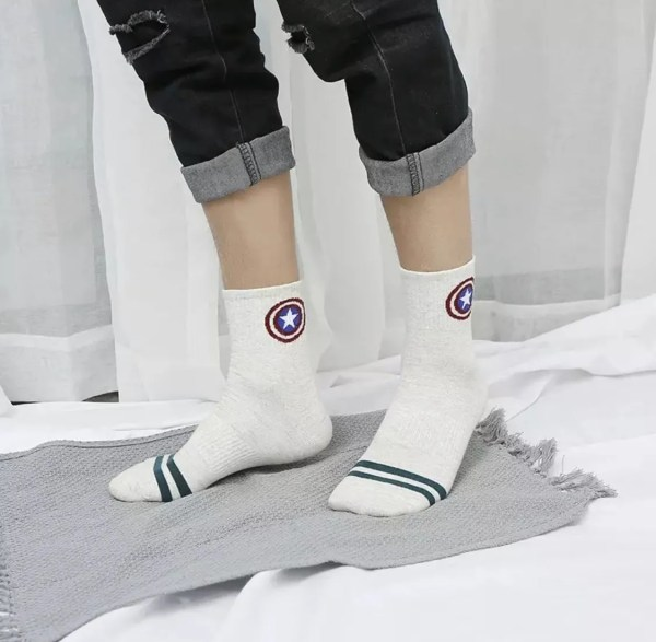 Marvel Socks - Marvel Captain America Shield White Athletic Socks - marvelofficial.com