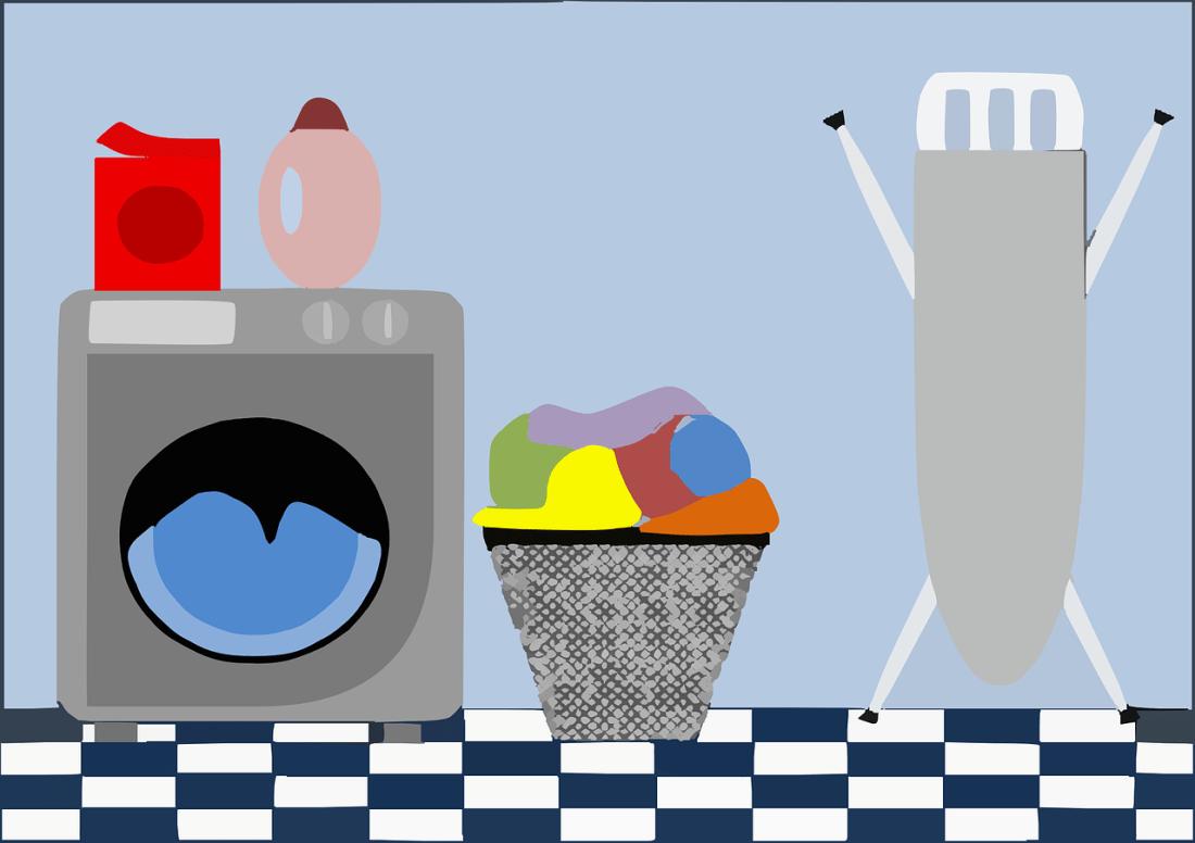 洗濯機や洗濯物のイラスト