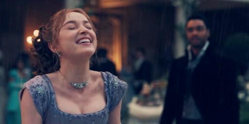 "Phoebe Dynevor laughing in Bridgerton's season finale ""After the Rain."""