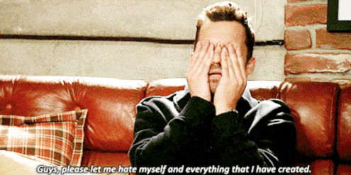 Nick Miller in New Girl with the quote: 'guys please let me hate myself and everything I've created'