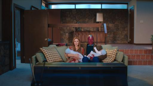 (L-R): Elizabeth Olsen as Wanda Maximoff and Paul Bettany as Vision in Marvel Studios' WANDAVISION exclusively on Disney+. Photo courtesy of Marvel Studios. ©Marvel Studios 2021. All Rights Reserved.