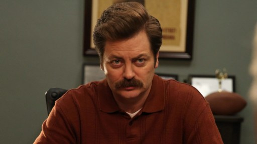 Nick Offerman as Ron Swanson in NBC's Parks and Recreation.