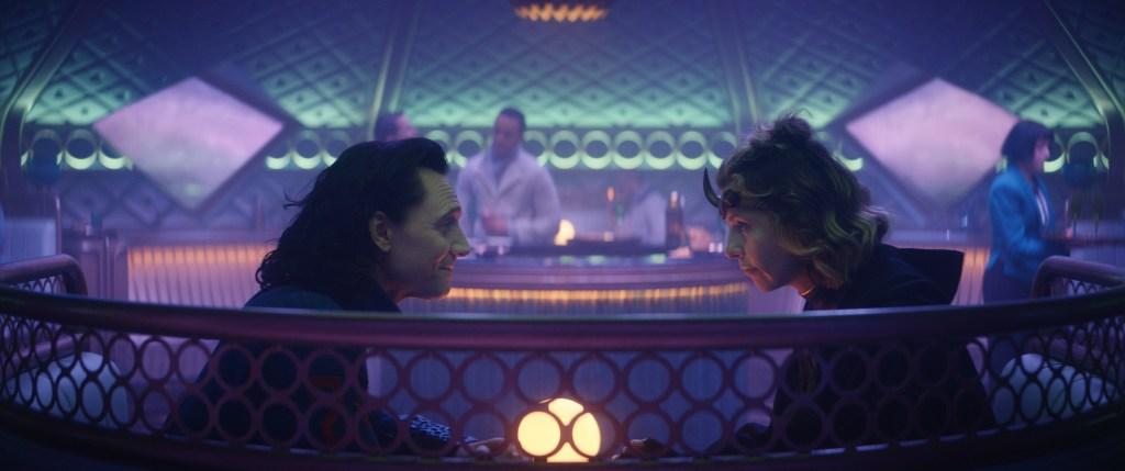 """(L-R): Loki (Tom Hiddleston) and Sophia Di Martino in Marvel Studios' Loki episode 3 """"Lamentis"""" Photo courtesy of Marvel Studios. @Marvel Studios 2021. All Rights Reserved."""