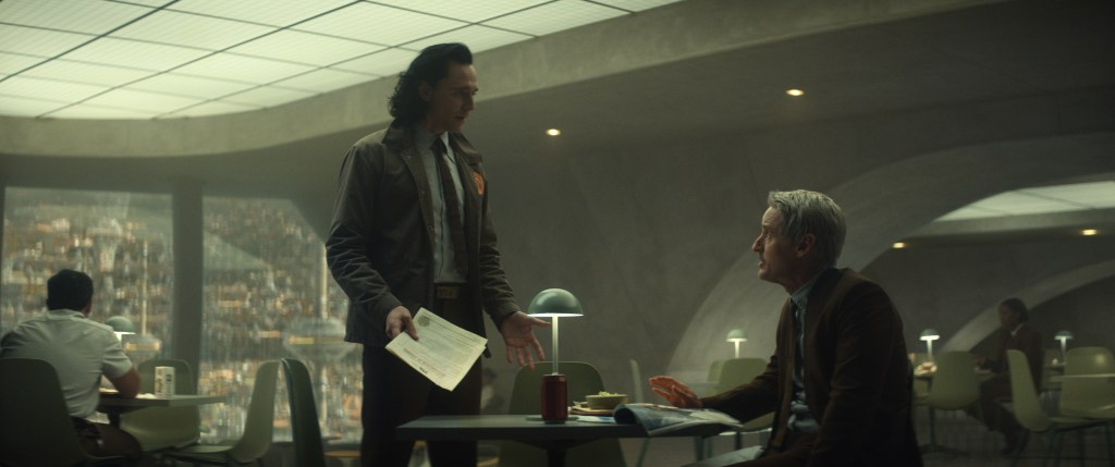 """(L-R): Loki (Tom Hiddleston) and Mobius (Owen Wilson) in """"The Variant"""" on Marvel Studios' LOKI, exclusively on Disney+. Courtesy of Marvel Studios. ©Marvel Studios 2021. All Rights Reserved."""
