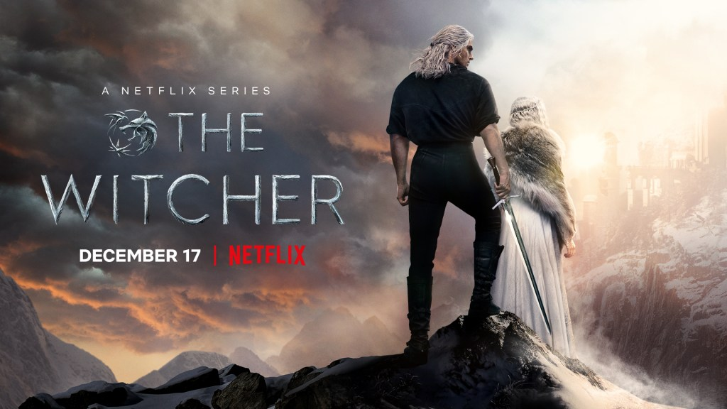 New poster of The Witcher featuring Geralt and Ciri stating that the series' second season premieres December 17.