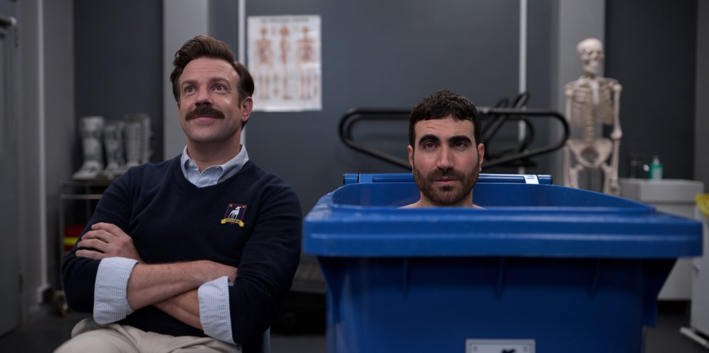 """Jason Sudeikis and Brett Goldstein in """"Ted Lasso,"""" """"All Apologies"""" now streaming on Apple TV+."""