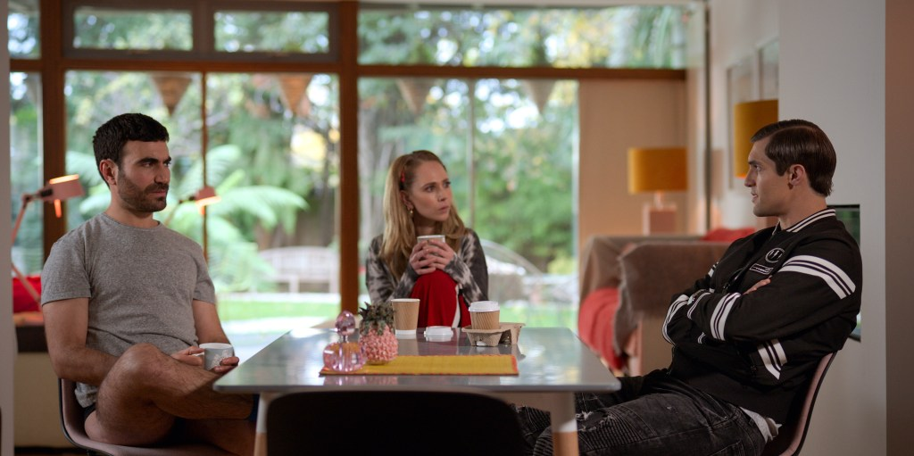 """Brett Goldstein, Juno Temple and Phil Dunster in """"Ted Lasso,"""" """"The Hope That Kills You"""" now streaming on Apple TV+"""