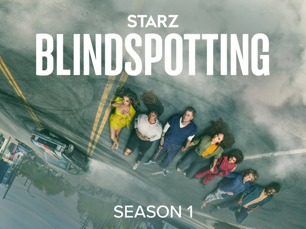 Key Art for Starz's Blindspotting featuring the leading cast. Now streaming only on Starz.
