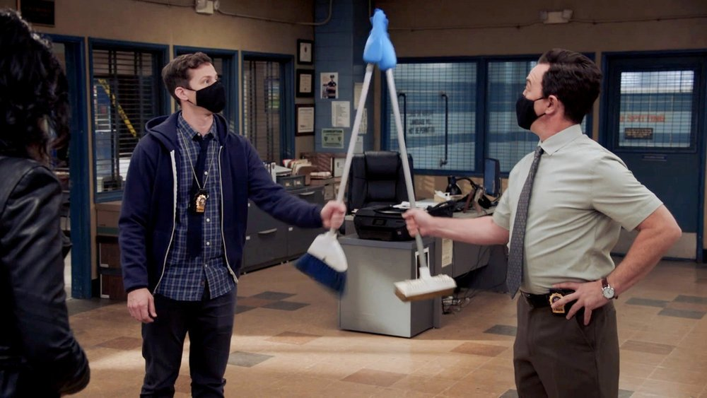"""BROOKLYN NINE-NINE -- """"The Good Ones"""" Episode 802 -- Pictured in this screen grab: (l-r) Andy Samberg as Jake Peralta, Joe Lo Truglio as Charles Boyle --"""