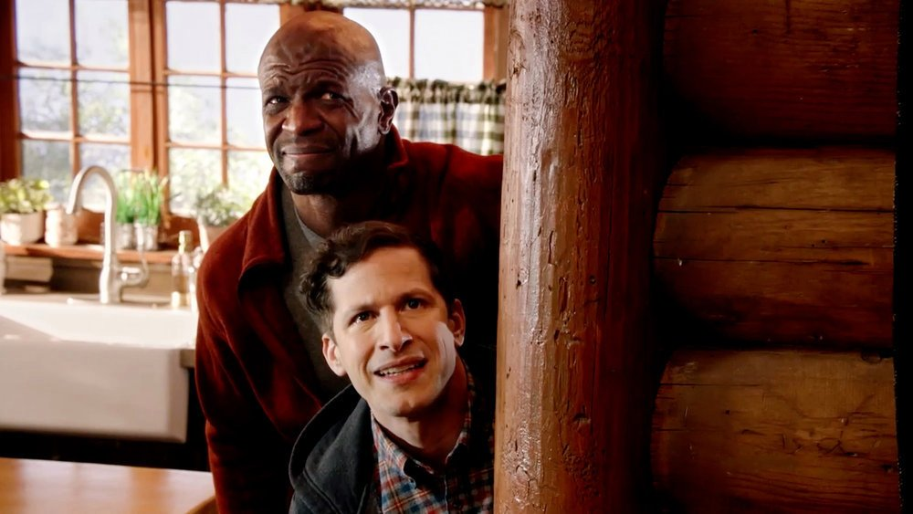 BROOKLYN NINE-NINE -- Episode 802 -- Pictured in this screen grab: (l-r) Terry Crews as Terry Jeffords, Andy Samberg as Jake Peralta --