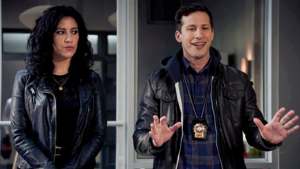 """BROOKLYN NINE-NINE -- """"The Good Ones"""" Episode 802 -- Pictured in this screen grab: (l-r) Stephanie Beatriz as Rosa Diaz, Andy Samberg as Jake Peralta --"""