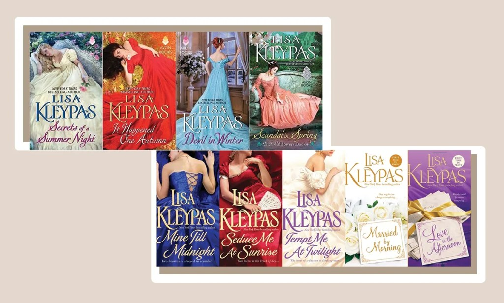 Book covers featuring each of Lisa Kleypas' Wallflowers and Hathaways series.