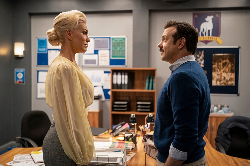"""Hannah Waddingham and Jason Sudeikis in Ted Lasso's """"Midnight Train to Royston"""""""