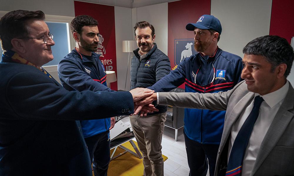 "Jeremy Swift, Brett Goldstein, Jason Sudeikis, Brendan Hunt and Nick Mohammed in ""Ted Lasso"" season two, episode: ""Man City"" now streaming on Apple TV+."