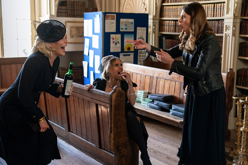 """Hannah Waddingham, Juno Temple and Ellie Taylor in """"Ted Lasso"""" season two, episode: """"No Weddings and a Funeral"""" now streaming on Apple TV+."""