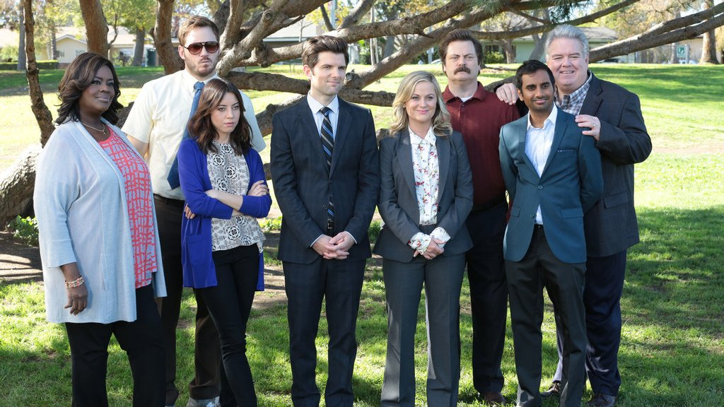 """Production still from Parks and Recreation """"One Last Ride,"""" the series finale."""