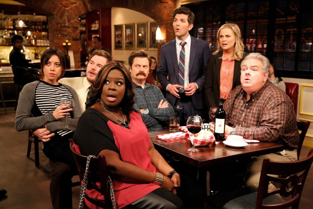 """Episode still from Parks and Recreation """"Two Funerals""""."""