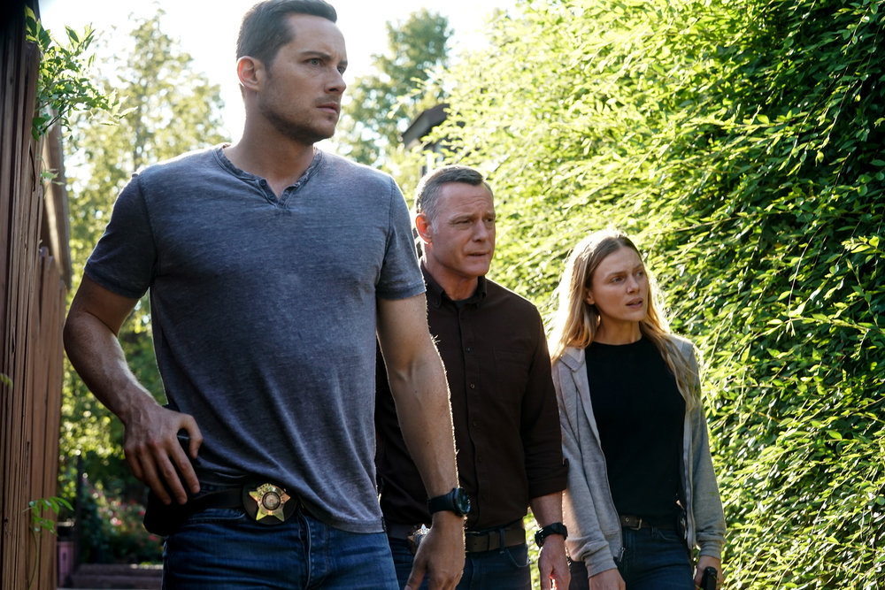 """CHICAGO P.D. -- """"In The Dark"""" Episode 904 -- Pictured: (l-r) Jesse Lee Soffer as Jay Halstead, Jason Beghe as Hank Voight,  Tracy Spiridakos as Hailey -- (Photo by: Lori Allen/NBC)"""