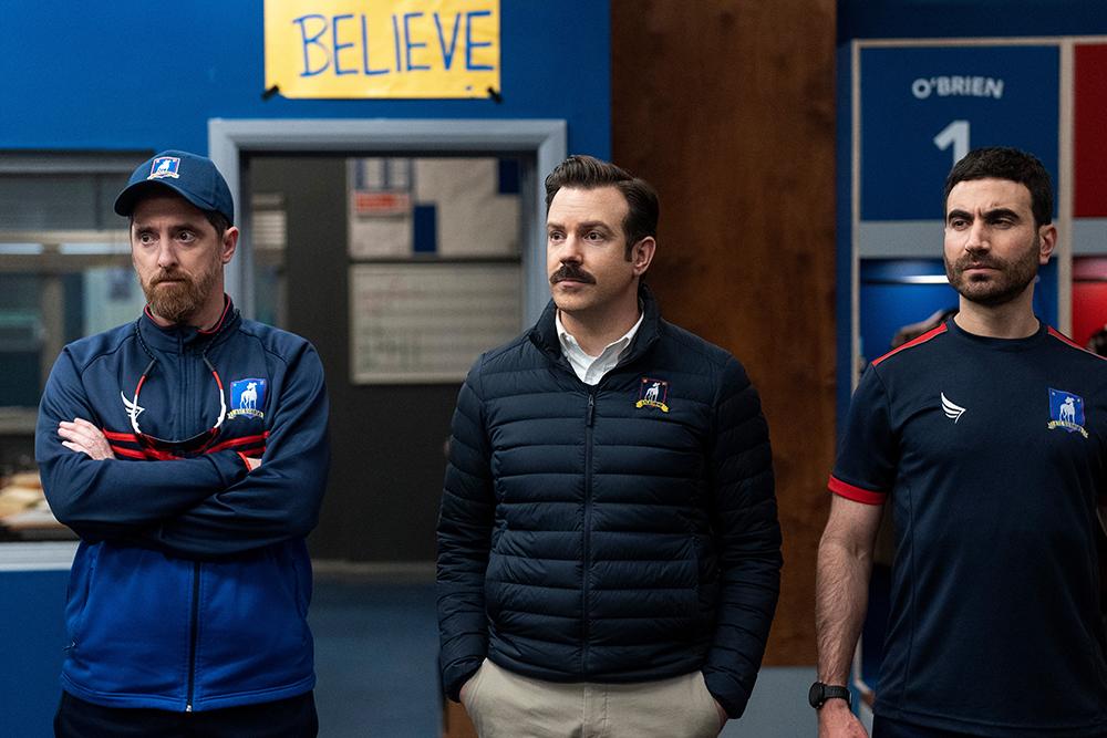 "Brendan Hunt, Jason Sudeikis and Brett Goldstein in ""Ted Lasso"" season two, now streaming on Apple TV+."