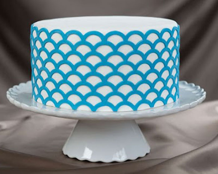 I Letter 3d Wallpapers Scalloped Lattice Onlay A 3d Stencil For Cakes And Arts