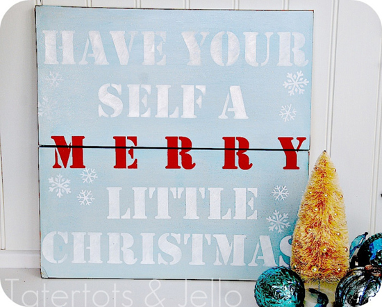 Christmas Holiday Stenciled Sign