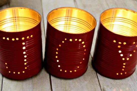 Christmas Tin Can Luminaries