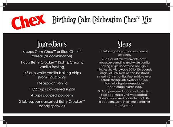 Chex Party Mix Recipe Cards Birthday Cake